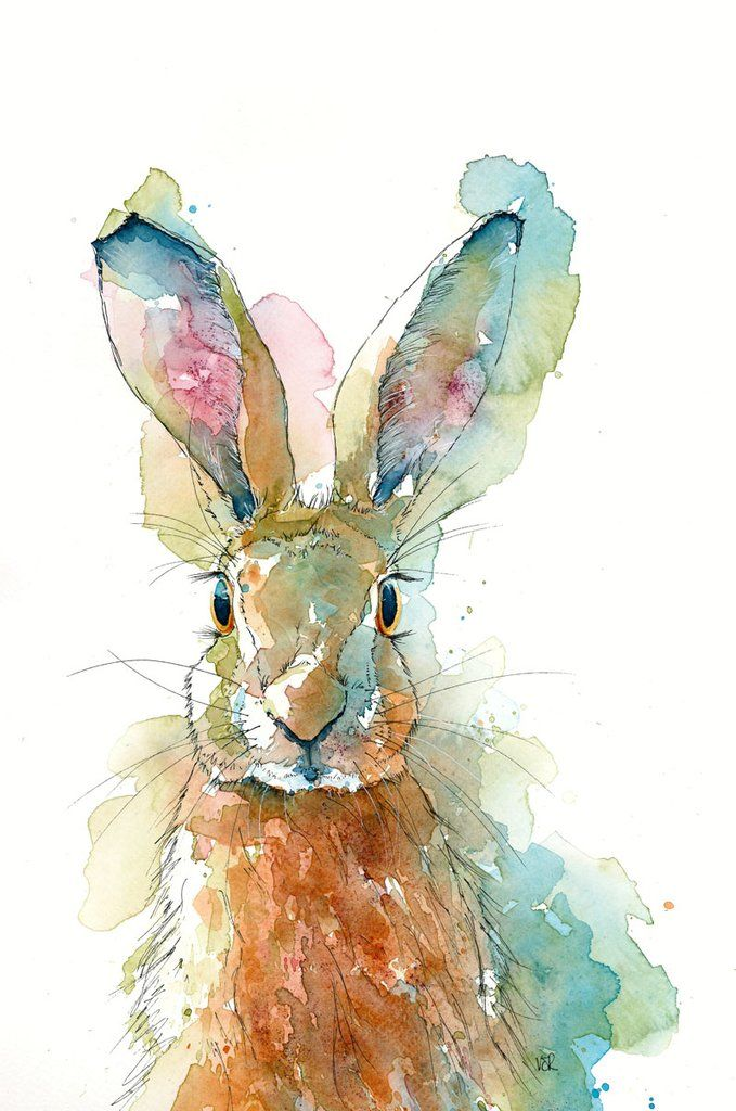 Limited Print of HAPPY HARE original watercolour by HELEN APRIL ROSE   395