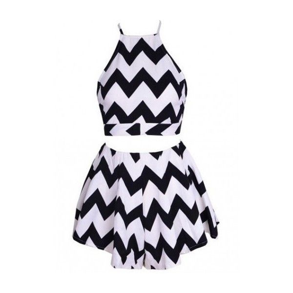Zig Zag Two-piece Set ❤ liked on Polyvore