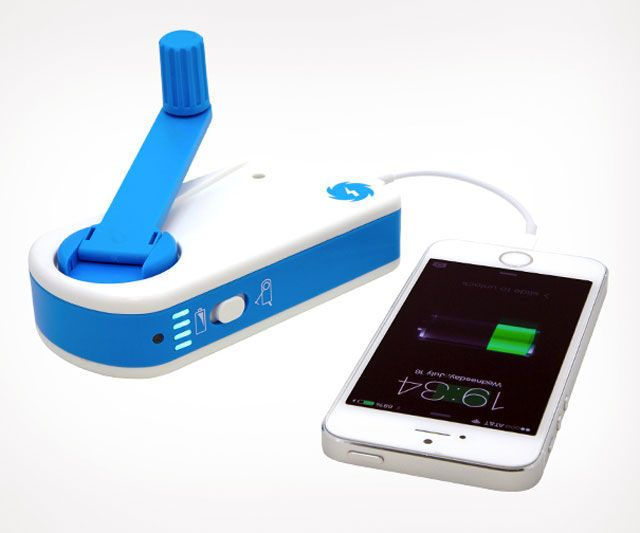 Double-Duty Backup Batteries - The SOScharger Features a Crank and an Internal Battery for Charging