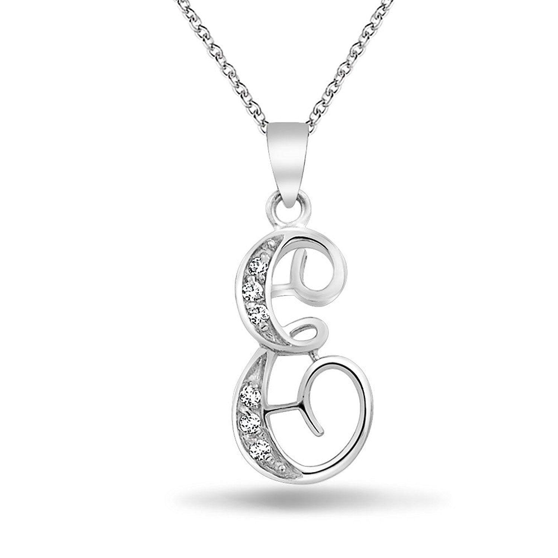Bling jewelry cz cursive alphabet letter e pendant rhodium plated bling jewelry cz cursive alphabet letter e pendant rhodium plated necklace 16 inches aloadofball Choice Image