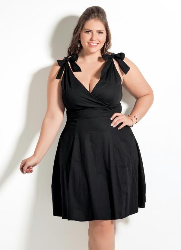 ca79a6b74 Vestido Decote V Quintess (Preto) Plus Size | Sexy dresses ...