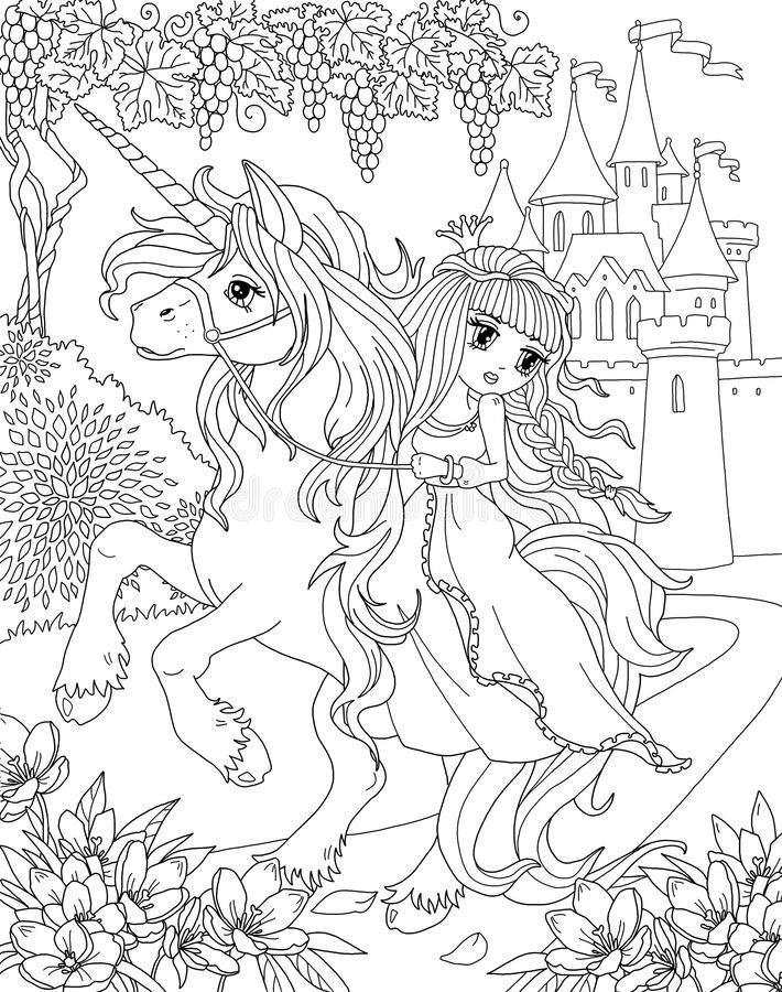 Coloring page The Unicorn and Princess stock illustration