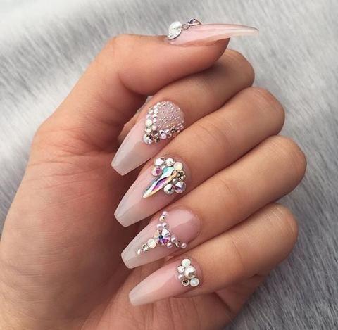 polygel nail kit  nails design with rhinestones polygel