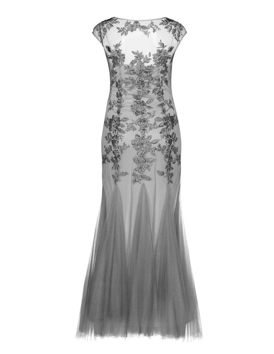 Mascara Floral besticktes Abendkleid in Grau  Abendkleid, Kleider