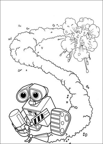 Wall E With Fire Extinguisher Coloring Page Disney Coloring Pages Coloring Pages Coloring Books