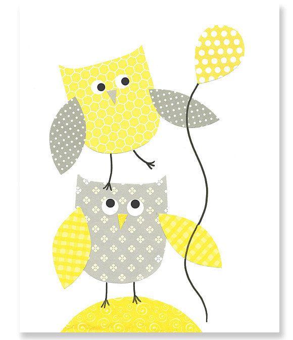 Yellow and Gray Owl Nursery Art Print or by SweetPeaNurseryArt ...