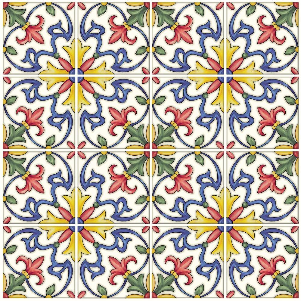 Provincial Wallcoverings Tuscan Tile Peel And Stick Backsplash Tiles Lowe S Canada Tuscan Tile Peel And Stick Tile Stick On Tiles