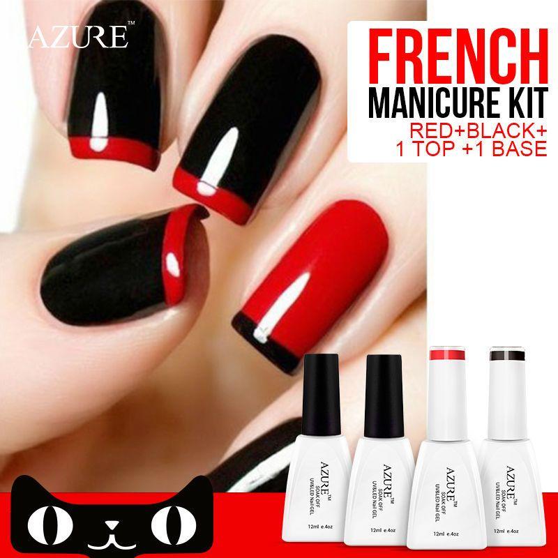 4pcs Azure Nail Gel Polish French manicure Black Red Color UV Lamp ...