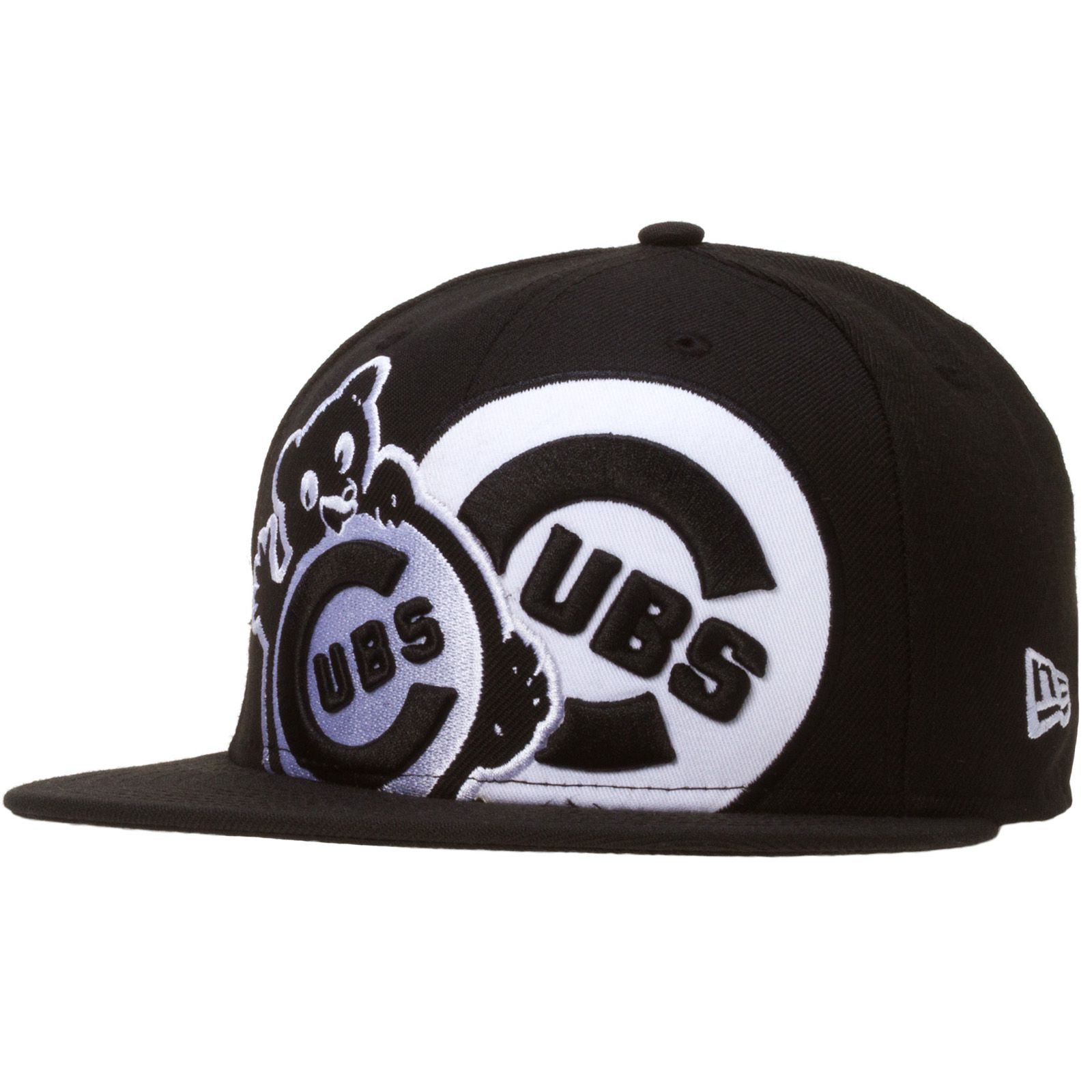 91e06fd9f34 Chicago Cubs Black and White Dual Logo Fitted Hat by New Era  Chicago  Cubs   ChicagoCubs