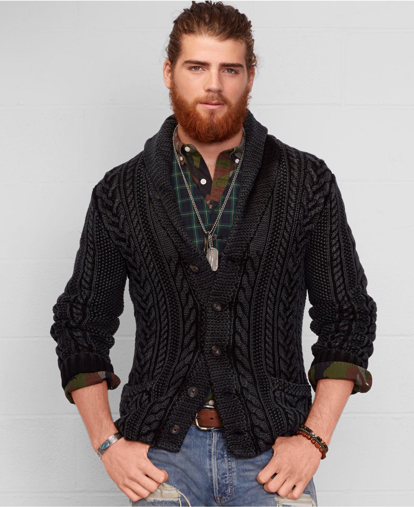 denim-supply-ralph-lauren-black-cable-knit-shawl-cardigan | My ...