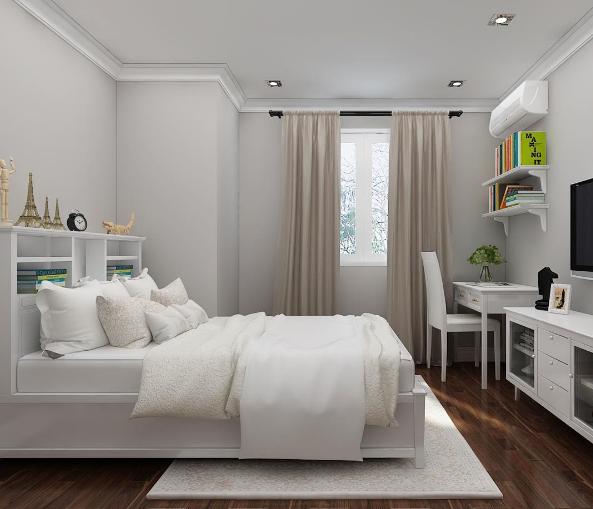 Komplett Schlafzimmer Weiß Mit Holzböden Farbe Braun
