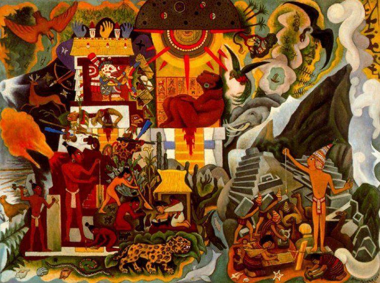 Diego Rivera America Prehispanica 1950 Oleo Sobre Lienzo 70