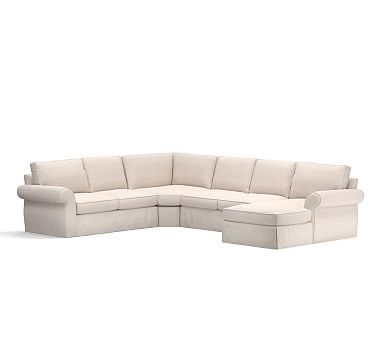 Pearce Slipcovered Left Arm 4 Piece Wedge Sectional Down