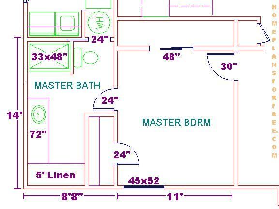floor plan for a 8x14 bath and 11x13 bedroom. beautiful ideas. Home Design Ideas