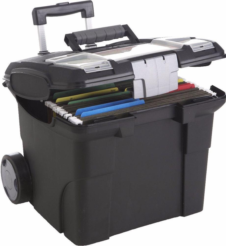 Heavy Duty Durable Portable File Box Black Plastic Wheels Storage