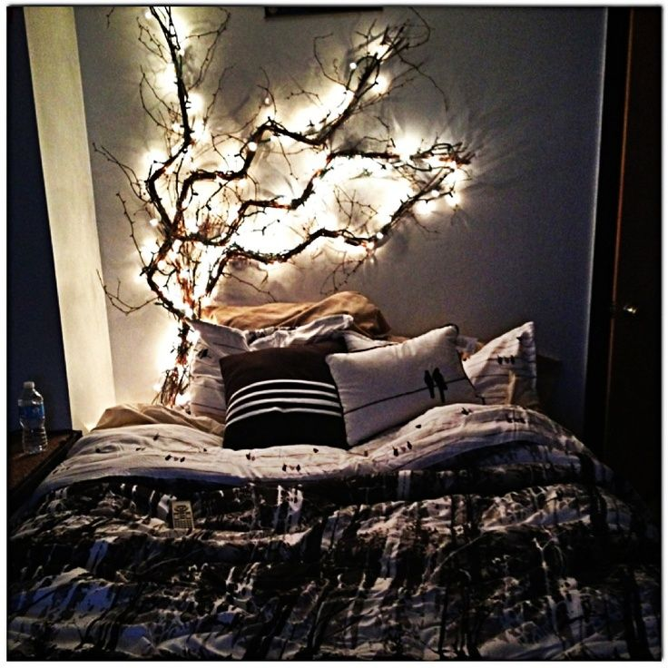 LIghts above Amelia\'s headboard: enchanted forest themed bedroom ...