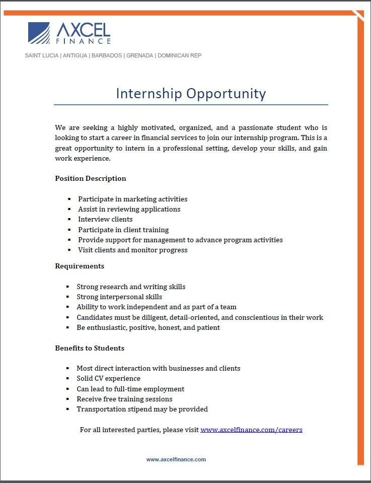 Internship Opportunity Internship Program Caribbean Jobs Job