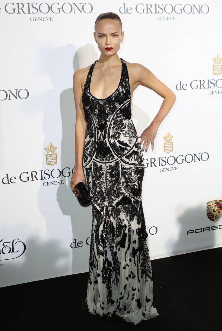 Natasha poly wearing robertocavalli embroidered dress
