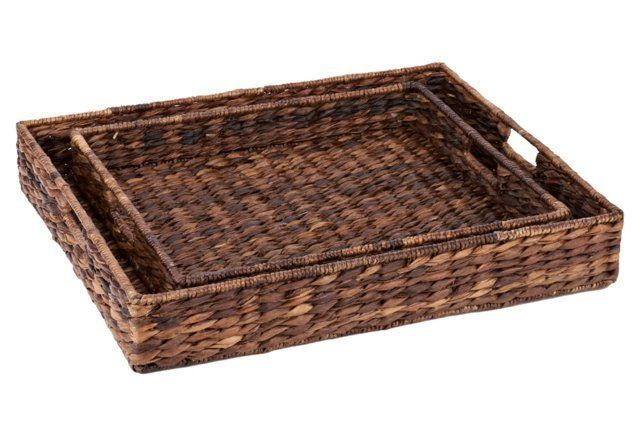 S/2 Abaca Serving Trays