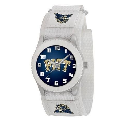 """Pittsburgh Panthers Youth White Unisex Watch by Game Time. $24.95. Kids & Toddlers. Water/Shock Resistant. Officially Licensed Pittsburgh Panthers Youth White Watch. Maximum Wrist Size 6"""". Stainless Steel Back/Velcro Strap. Pittsburgh Panthers youth watch. Watch features a stainless steel back with adjustable Velcro strap. Developed with Japan Quartz Accuracy. Glow-In-the-Dark hands and numbers to make watch easy to read. Water and shock resistant and has a Limited lifet..."""