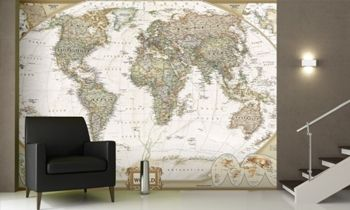 World map wall murals and world map wallpaper on the wall world executive map antique tones two sizes and spanish available map type enlarged tubed x national geographic maps gumiabroncs Image collections