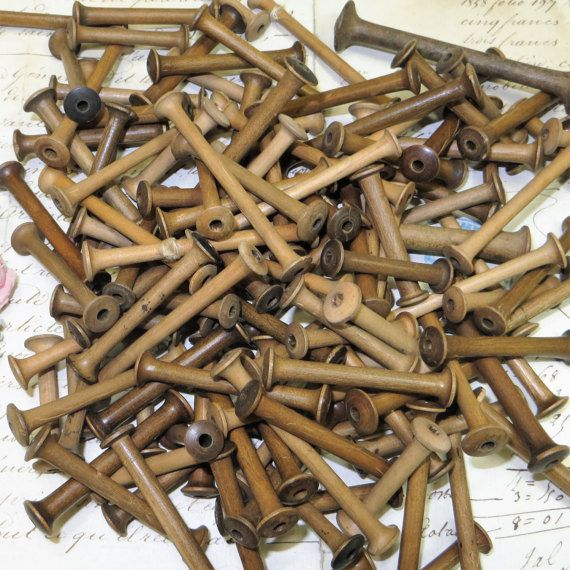 1 ANTIQUE WOOD FRENCH SILK or METAL THREAD TEXTILE BOBBIN SPOOL RIBBON TRIM VTG