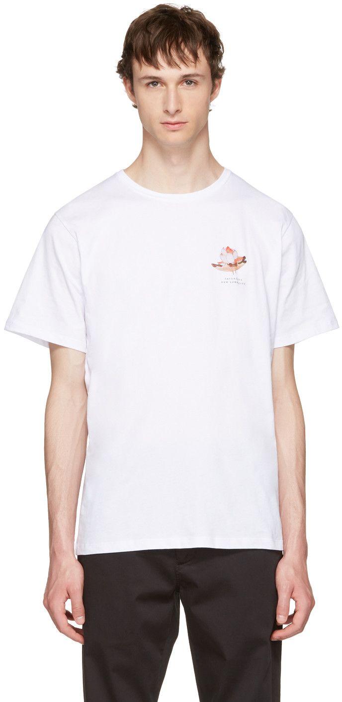Lotus flower printed cotton jersey t shirt white saturdays surf saturdays nyc saturdays surf nyc white lotus flower t shirt izmirmasajfo Images