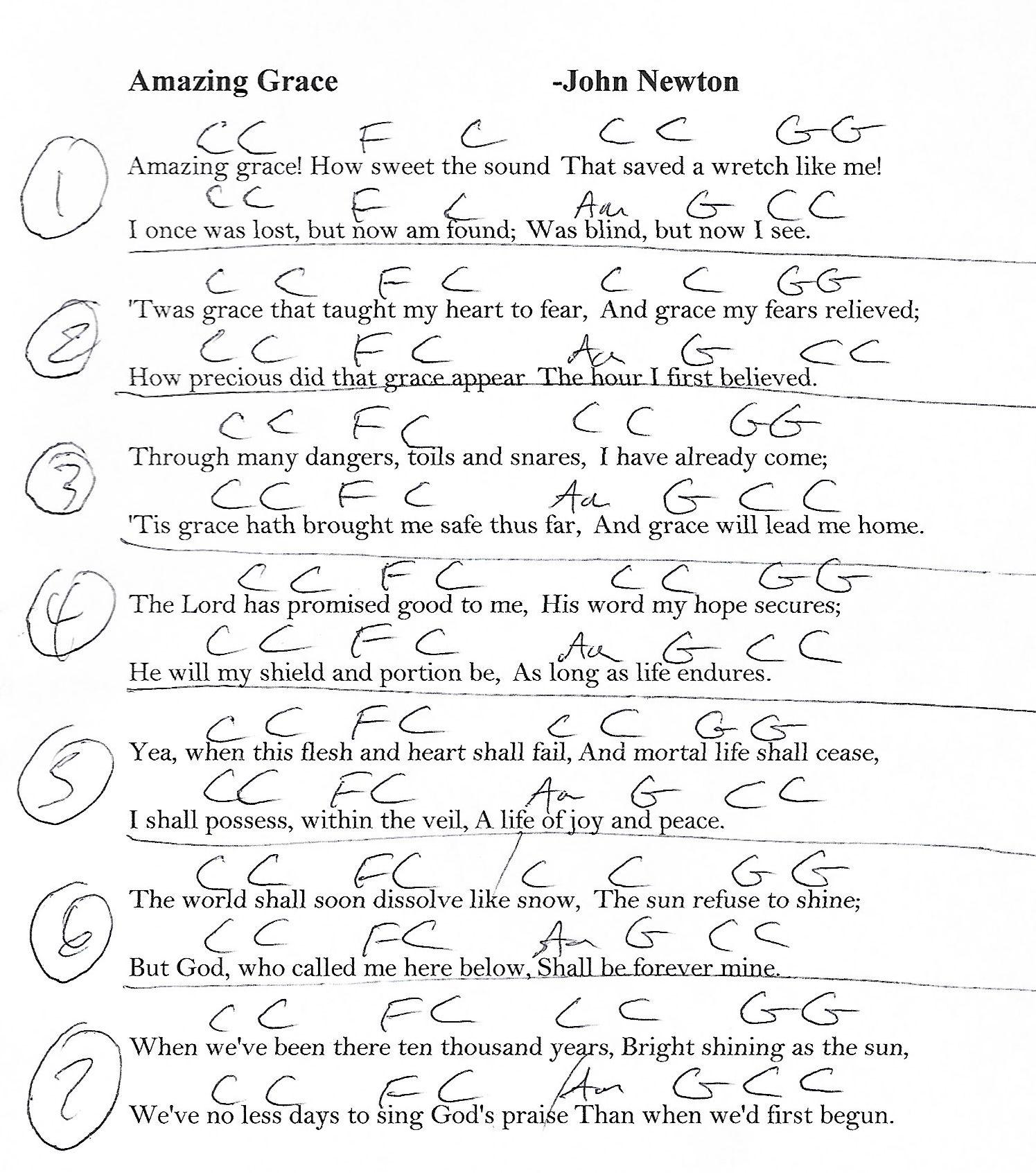 Amazing Grace Sheet Music With Lyrics: Amazing Grace (Hymn)