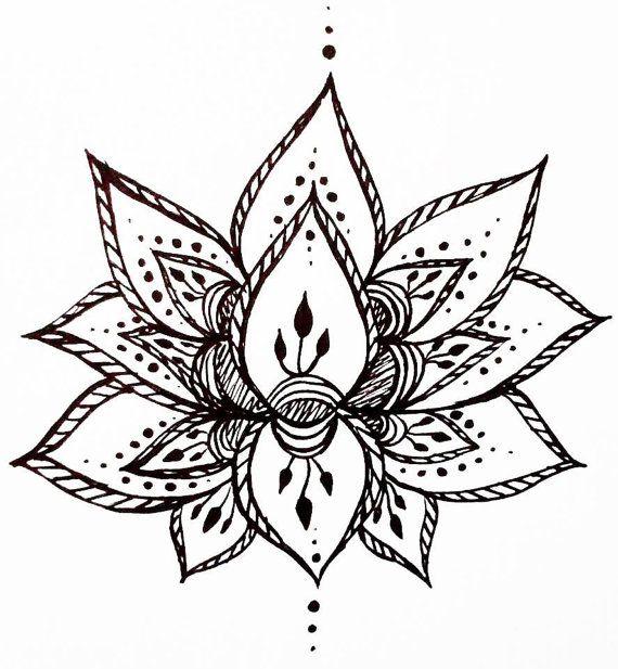 Lotus Flower Temporary Tattoo Hand Drawn Henna Style Etsy Flower Drawing Design Black Lotus Tattoo Flower Tattoo