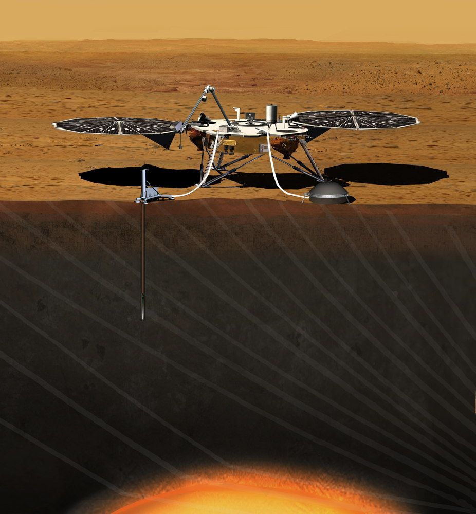 This artist's concept depicts the stationary NASA Mars lander known by the acronym InSight at work studying the interior of Mars. The InSight mission (for Interior Exploration using Seismic Investigations, Geodesy and Heat Transport) is scheduled to launch in March 2016 and land on Mars six months later. Image released Sept. 4, 2013.