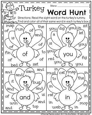 Fall Kindergarten Worksheets For November Kindergarten Worksheets