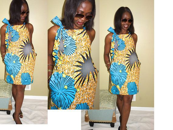 04238036f3 Vibrant African sundress with halter neck Style is loose