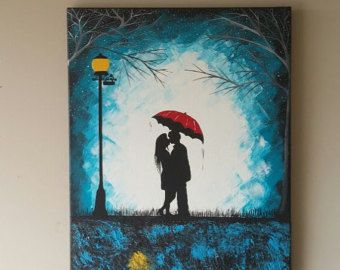 Original Couple Kissing In The Rain Wall Artcouple With Red