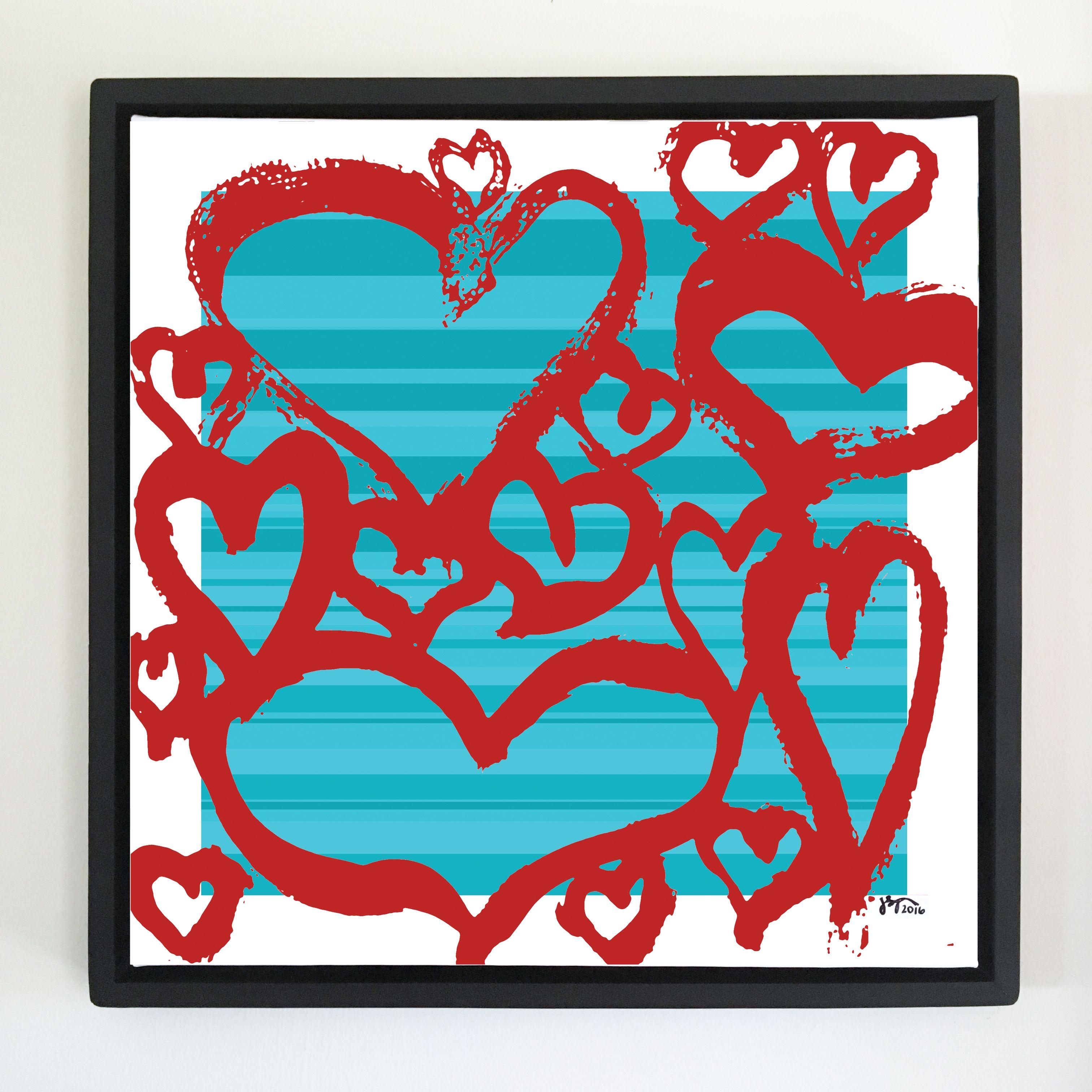 """Overflow series: """"Love All"""" art. 24 x 24 inch, digital art & gloss and matte gel on stretched canvas. 26.5 x 26.5 inch, float frame - black flat. ---------------------------------------- #popart #popartist #digitalart #art #artist #contemporaryart #colorfield #abstractart #gloss #matte #art #canvas #jonsavagegallery"""
