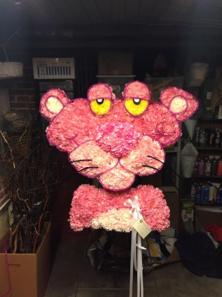 Pink panther flower sculpture funeral flowers we recently made pink panther flower sculpture funeral flowers we recently made using carnations and creative coils mightylinksfo