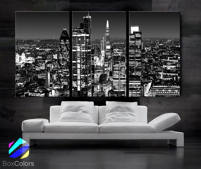 Large 30x 60 3 panels art canvas print beautiful london skyline lights night
