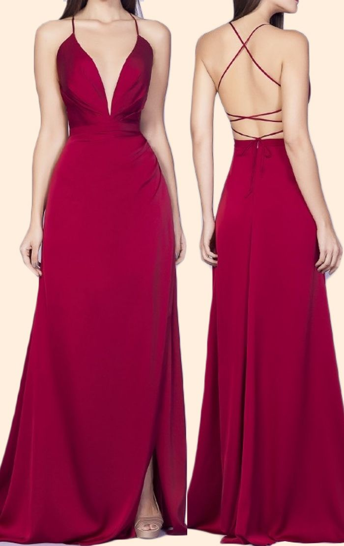 MACloth Gorgeous Long Prom Dress 2018 Straps Lace Chiffon Formal Evening Gown (32, Burgundy)