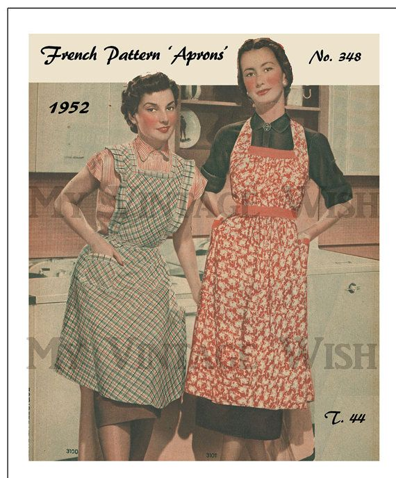 1950s Aprons Vintage French Sewing Pattern Pdf Instant Download