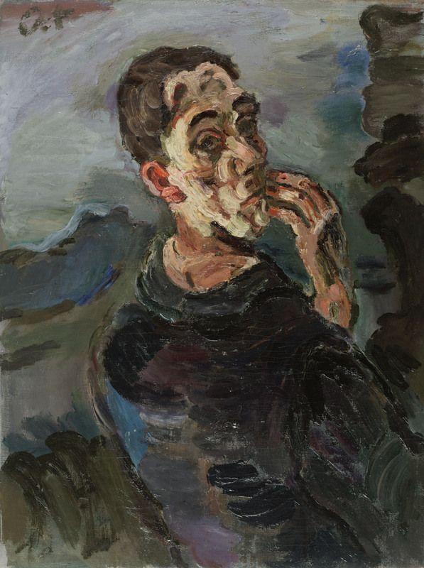 Oskar Kokoschka, Selbstbildnis, eine Hand ans Gesicht gelegt, 1918/19, Leopold Museum, Wien