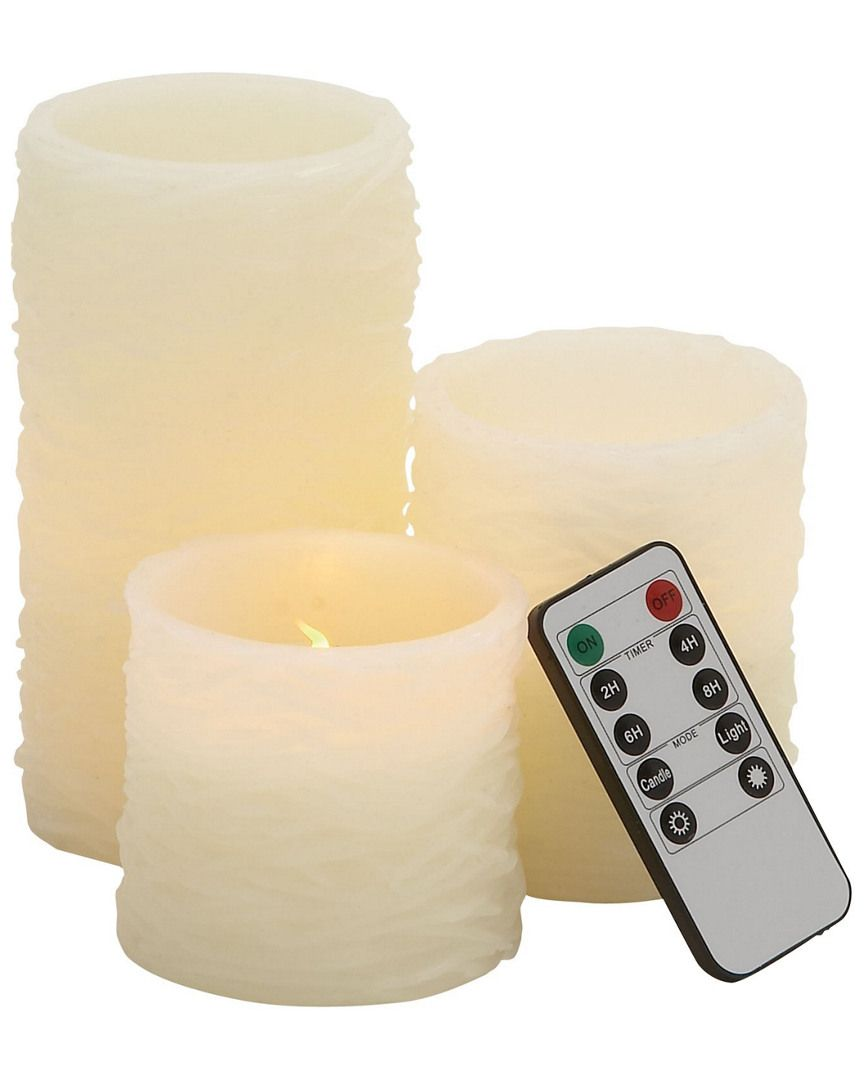 Set of Three Textured Flameless Candles with Remote is on Rue. Shop it now.