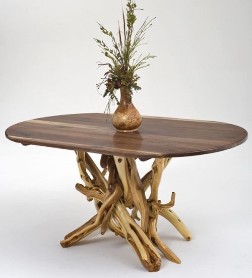 Driftwood Dining Table With Black Walnut Top Dining Table