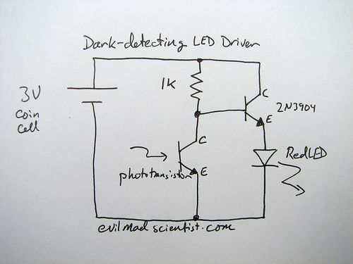 A Simple and Cheap Dark-Detecting LED Circuit