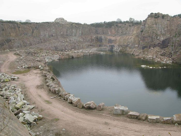 Disused And Water Filled Kemany Pink Granite Quarry