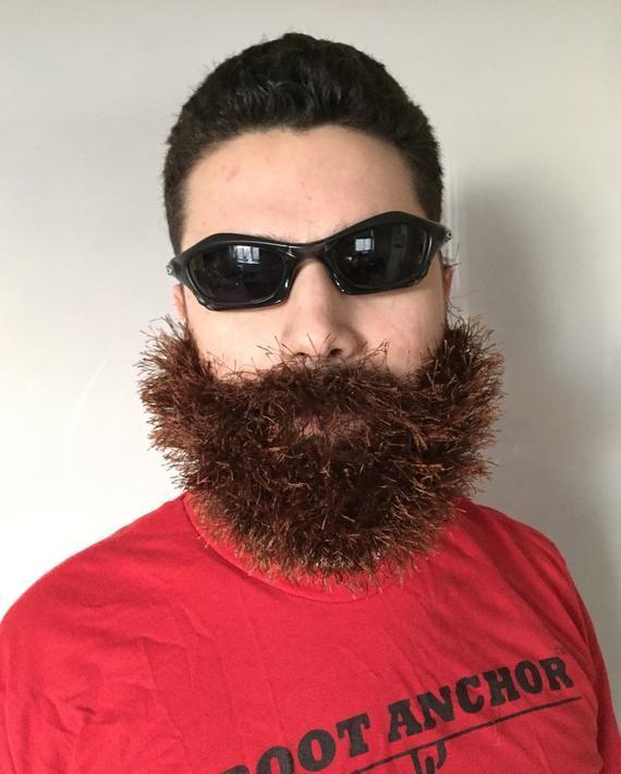 Handmade Crochet Beard Only, dettached beard, fuzzy Beard, choose any color you like, blonde beard, #crochetedbeards