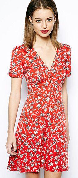 Robe rouge fleurs papillons asos   Clothing Dress me up!   Pinterest ...