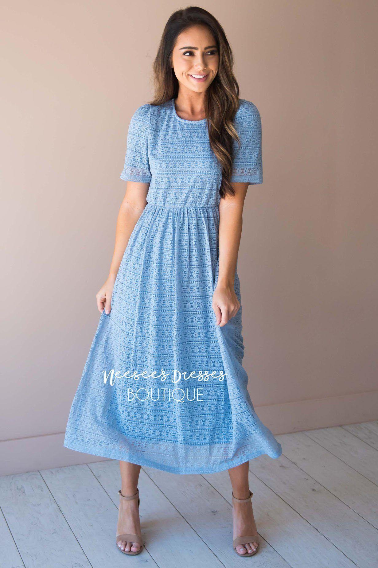 Light Blue Floral Lace Modest Church Dress Best And Affordable Modest Boutique Cute Modest Dresses And Neesees Dresses Modest Spring Dresses Modest Dresses [ 1850 x 1231 Pixel ]