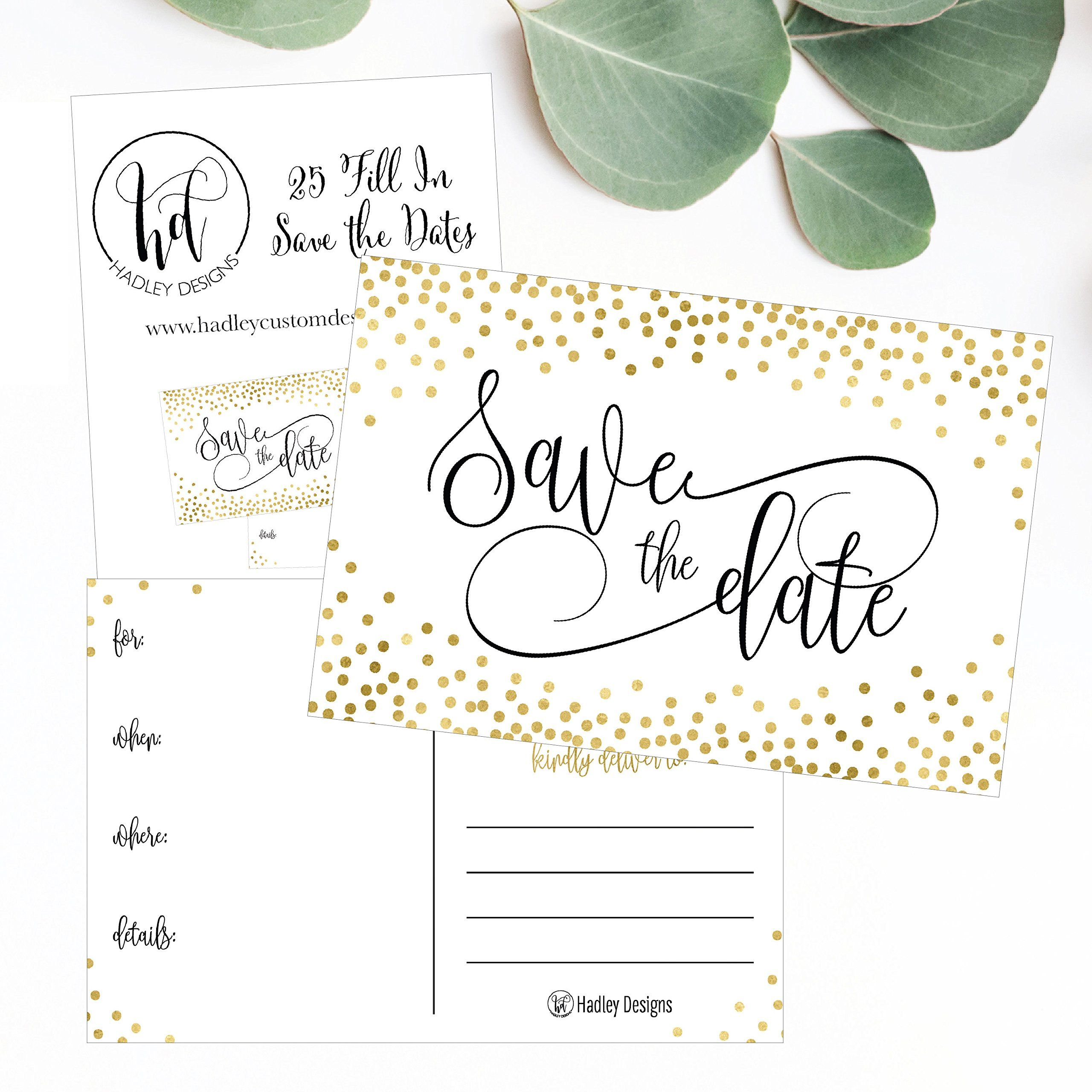 229001ad62 25 Elegant Gold Dots Save The Date Cards For Wedding Engagement Anniversary  Baby Shower Birthday Party