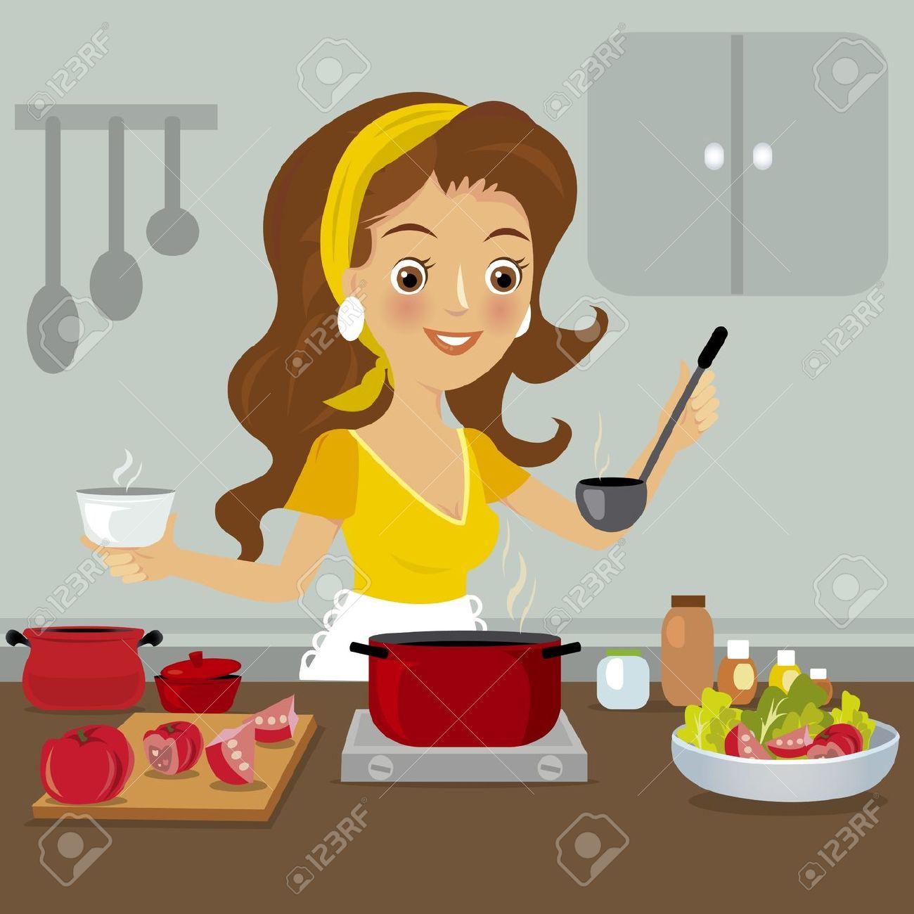 21040613 woman in kitchen stock 1300 1300 for Cocinar imagenes animadas