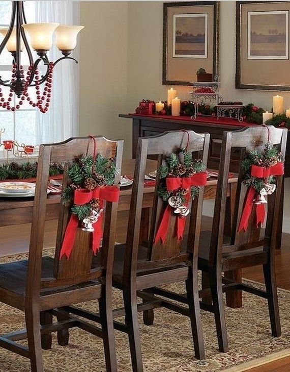 35 Festive Holiday Chair Decorations Christmas Chair Christmas Home Christmas Table Decorations