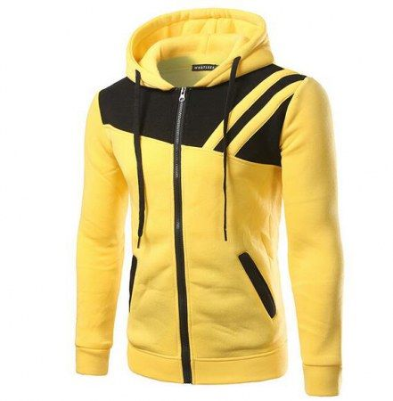 Cheap color block hoodie with zipper slim fit hooded sweatshirts for men